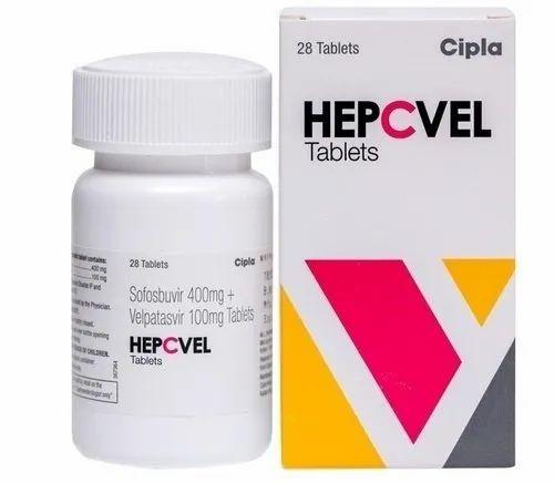Sofosbuvir And Velpatasvir Hepcvel 400mg/100mg Tablets Sofosbuvir 400mg,  Velpatasvir100, 28 Tablet, Cipla Ltd, Rs 5000 /bottle | ID: 17111061555