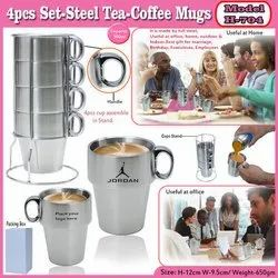 4pcs Set-Steel Tea-Coffee Mug H-704