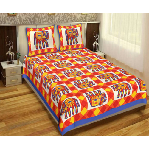 Cotton Print Bed Sheets Rs Piece Vicky Garments ID - Orange print sheets