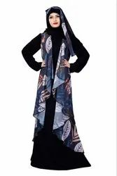 Women's Jacket Style Printed Georgette And Nida Abaya Burqa With Hijab