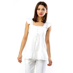 White Cotton Ladies Top