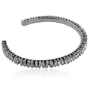 Baguette Diamonds Handmade Solid 925 Sterling Silver Cuff Bangle