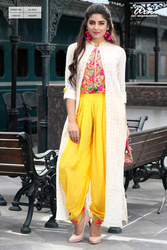 Top And Dhoti Style Pant With Full Length Jacket