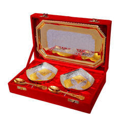 Handicraft Brass Bowl Set With Tray And Spoon