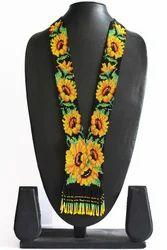 Party Wear Women Designer Sunflower Long Beaded Necklaces