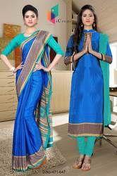 Uniform Saree And Salwar Combo