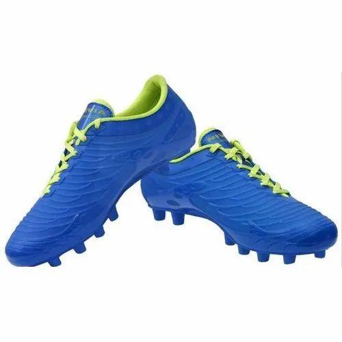 Men Blue Mens PU Football Boots, Size