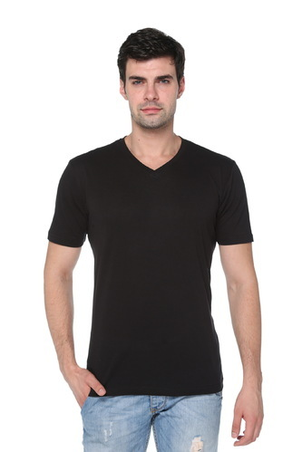 Black Cotton Mens Solid V Neck T Shirt Size S To Xxl Rs 99 Piece Id 16420442955