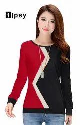 Red & Black Vincy Fashion Ladies Tshirt