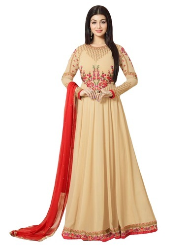 6bed8e2125 Georgette Cream Color Women' s Party Wear Anarkali Suits with Floral  Embroidery