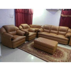 Brown Cushion Back Leather Sofa Set