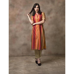 3/4th Sleeve Ladies Designer Cotton Kurtis, Size: S-XL