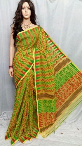 c596a997df0da Jamdani Handloom Silk Cotton Blend Sari (Light Green   Red) at Rs ...
