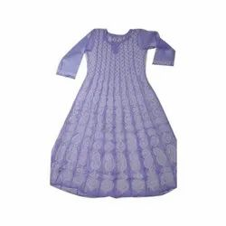 Party Wear Ladies Purple Chikankari Anarkali Kurti, Handwash