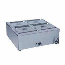 Stainless Steel Table Top Bain Marie Without Glass (4 Pan), For Commercial Kitchen