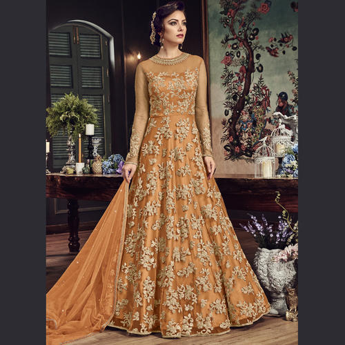 Net Floor Length Semi-Stitched Anarkali Suits