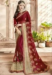 Maroon and Beige Embroidered Partywear Saree