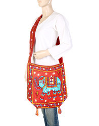 Cotton Embroidered Mirror Work Cross Body Sling Bag Side Bag