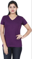 Stylish Looks Plain Cotton V Neck T Shirt