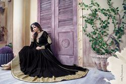 Designer Black And Gold Embroidered Anarkali