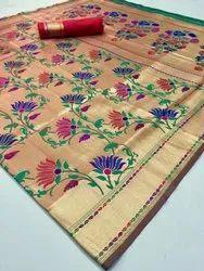 Wedding Wear Printed Silk Saree With Jari Gold, Hand Made, 6 m (with blouse piece)