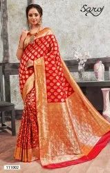 Red  Fancy Banarasi Silk Saree