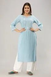 Round Neck Designer Embroidered with Handwork Rayon Kurti