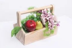 Pine Yellow Wooden Fruit Basket - (7 X 11 Inches), For Home, Size: 7x5.5x10.5