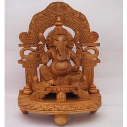 Polished Wooden Ganesha Statue