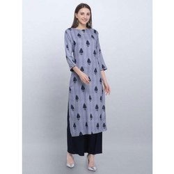 Casual Wear Light Blue Rayon Kurti