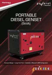 Single Phase 5 KVA Mahindra Portable Silent Diesel Generator Set, 230