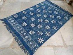 Indigo Blue Dabu Hand Block Sanganeri Bagru Printed Cotton Room Rug, Floor Rug, Mat