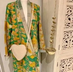 Yellow And Green Kantha Jacket