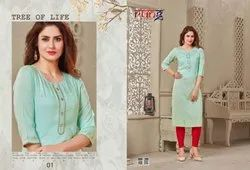 Amayra Heavy Slub Rayon With Fancy Work Kurtis