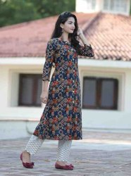 Handblock Cotton With Chicken Palazzo Ladies Kurti