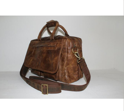 Leather File Bag Brown
