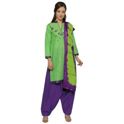 Green Colored Cotton Embroidery Unstitched Casual Wear Salwar Suit