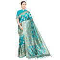 Exclusive Blue Weaving Banarasi Silk Saree with Blouse Piece