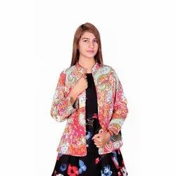 Multicolor Full Sleeve Party Wear Ladies Kantha Cotton Jackets, Size: S M L XL XXL