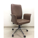 Brown Leather Medium Back Designer Office Chair