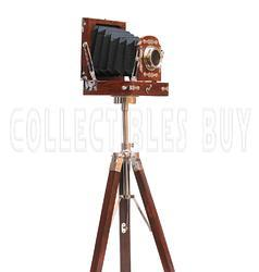 Brown Wooden Tripod Old Retro Look Replica Camera