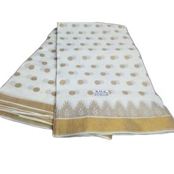 White And Golden Silk Saree