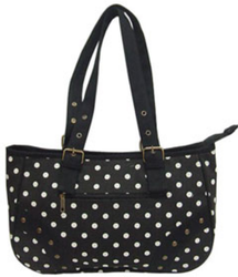 Black/White Mono Polka Handbag, 15 X 10