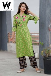 Regular Ankle Length Beautiful Rayon Fabric Embroidery & Hand Work Kurti With Pent