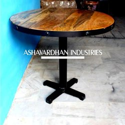 Shesham Wood And Cast Iron Black Rustic Industrial Table, Size: Overall Height  76CM