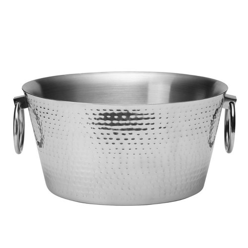 Stainless Steel Double Wall Hammered, Round Beverage Tub