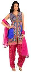 Chanderi Ladies Salwar Suits, Semi-stitched