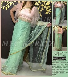 MFC 1380 Ladies Drepped Net Saree with Pearl Work