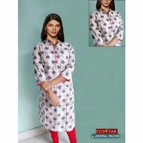 Straight Casual Wear Ladies Printed Cotton Kurti