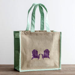 Dyed Gusset & Handle, Printed Jute Bag